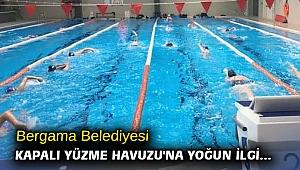 Bergama Belediyesi Kapalı Yüzme Havuzu'na yoğun ilgi...