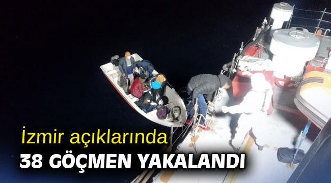 İzmir açıklarında 38 göçmen yakalandı