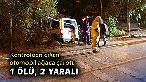 İzmir'de kontrolden çıkan otomobil ağaca çarptı: 1 ölü, 2 yaralı
