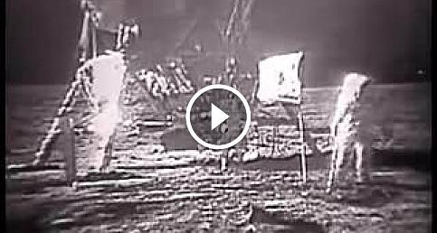 Astronot Neil Amstrong'un Ay'a ilk ayak bastığı görüntü